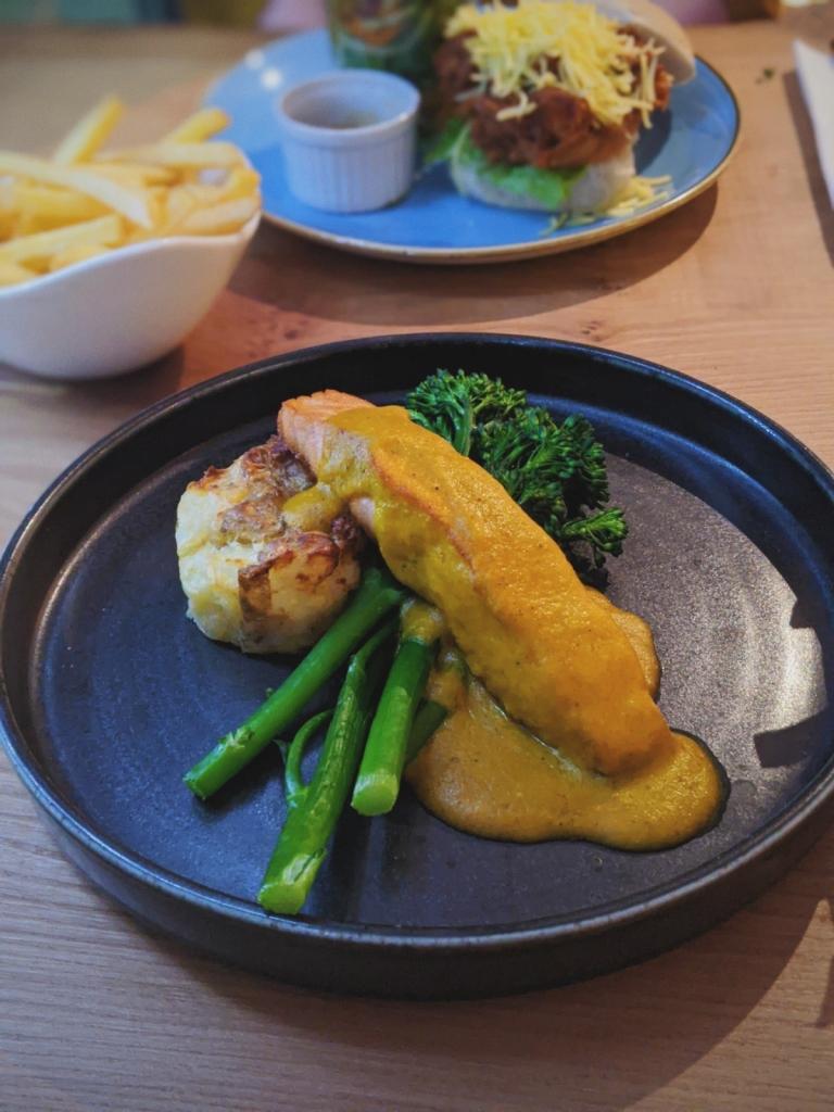 Baked salmon and katsu at 210 Bistro.