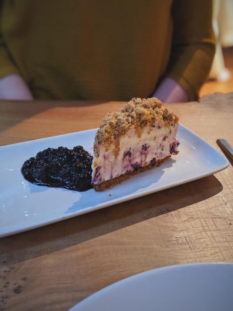 Bramble crumble cheesecake at 210 Bistro.